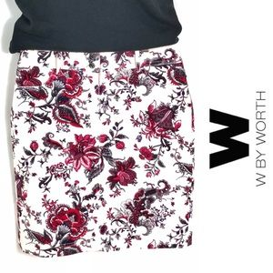 W by Worth Micro-cord Floral Pencil Skirt, 0